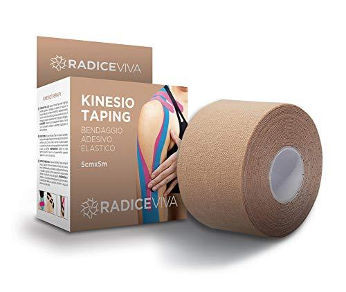 RADICEVIVA Kinesio - Cinta adhesiva elástica muscular para kinesiotherapy, 5 cm x 5 m, con instrucciones de uso (idioma español no garantizado), ideal para atletas y deportes (color piel)