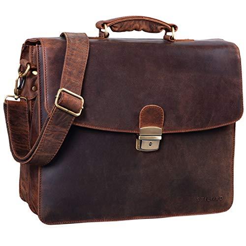 STILORD \'Loris\' Klassische Aktentasche Leder Groß Herren Businesstasche mit Schloss Vintage Bürotasche Aufsteckbar, Farbe:Zamora - braun