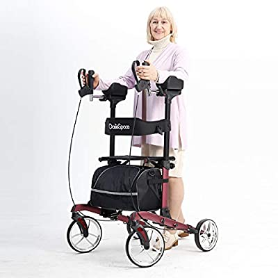 """OasisSpace Heavy Duty Upright Walker -Stand Up Rollator Walker with 22"""" Wide Seat with Adjustable Backrest and Pad Armrest for Senior Support Up to 450lbs (Maroon)"""