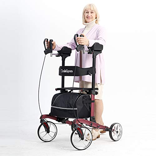 OasisSpace Heavy Duty Rollator for 450 lbs, Tall Walker with Metal Wheels, Stand-Up Folding Rollator Walker Back Erect Rolling Mobility Walking Aid for Elderly, Seniors and Adult Red