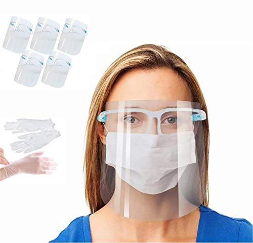 Pantalla de Proteccion Facial, 5 pcs de Cara Completa de Plástico Reutilizable Gafas protectoras Visera de protección de seguridad Anti escupir para hombres y mujeres(envasada al vacío)