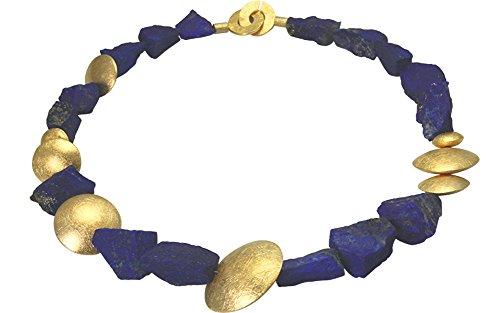Lapislazuli Collier - hochwertige Goldschmiedearbeit made in Germany (Sterling Silber 925 hochwertig vergoldet) Lapislazuli Kette - Lapis Collier - Damenkette mit Wert Expertise