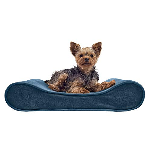 Furhaven Pet Dog Bed - Orthopedic Micro Velvet Ergonomic Luxe Lounger Cradle Mattress Contour Pet Bed with Removable Cover for Dogs and Cats, Stellar Blue, Small