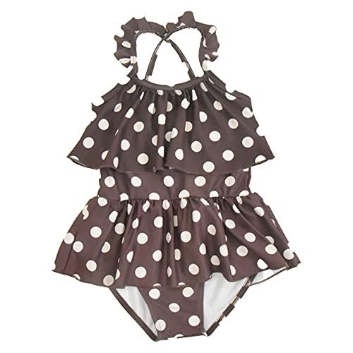 ak1110 ドット柄フリルワンピース水着 キッズ ベビー 赤ちゃん 子供 女の子 女子 (ブラウン,100)