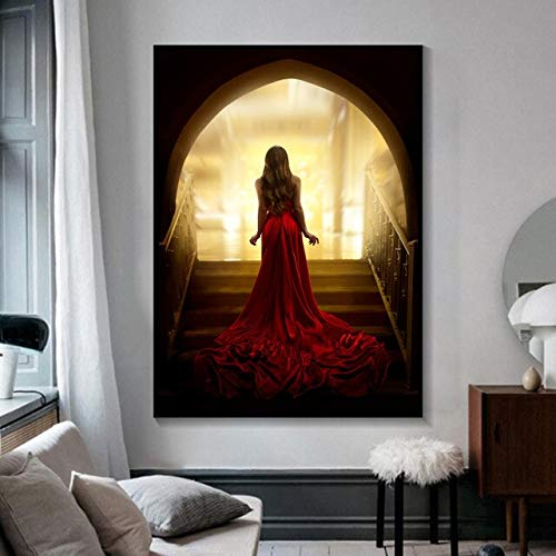 N / A Rote sexy Mode Frau Kunst Leinwand Poster Druck Gemälde Wandbild für Wohnzimmer Home Decoration Rahmenlos 60x90cm