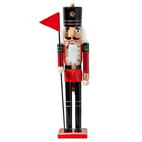 Notenkraker decoratie figuur, notenkraker figuren kerstballen notenkraker figuur kerstboomversiering handpop hanger decoratie - mooi kerstcadeau voor uw vriend, hoogte 38/50 cm Vaandel Soldat-38 cm