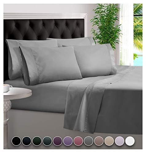 BAMPURE 6 Piece Bamboo Sheets 100% Organic Bamboo Sheets Bamboo Bed Sheets Cooling Sheets Deep Pocket Bed Sheets Queen Size, Stone Gray
