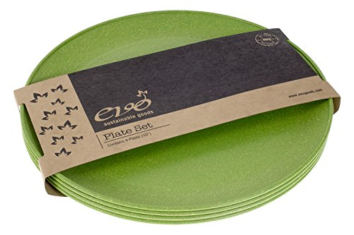 "EVO Sustainable Goods 10"" Plate, Set of Four, Green"