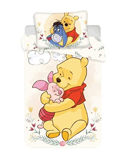 Ropa de Cama Infantil de Disney Winnie The Pooh Deluxe, Funda de Almohada: 40 x 60 cm y Funda nórdica: 100 x 135 cm, 100% algodón, Certificado Öko Tex Standard 100, algodón, Weiß - Gelb, 100 x 135 cm