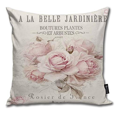 Sotyi-ltd French Shabby Chic Pillow cover Throw pillowcase Decorative Cushion Cover Gift for Birthday Wedding Couple Anniversary Graduation 18x18 inches