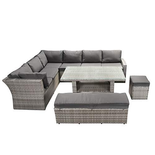 BRAST Poly-Rattan Gartenmöbel Essgruppe Lounge Set Sitzgruppe Outdoor Möbel Garten Garnitur Sofa Holidays Grau Anthrazit - 7