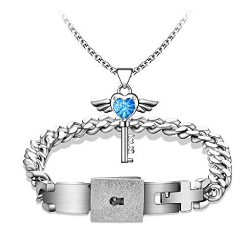 Y-POWER 2 piezas de acero inoxidable amor corazón clave cerradura Macthing brazalete colgante collar cerradura clave pareja amante conjunto de joyas
