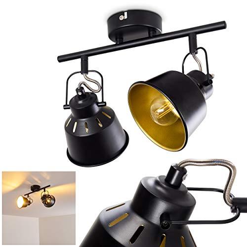 Deckenleuchte Safari, Deckenlampe aus Metall in Schwarz/Gold, 2-flammig, mit verstellbaren Strahlern, 2 x E14-Fassung, max. 40 Watt, Spot im Retro/Vintage Design, für LED Leuchtmittel geeignet