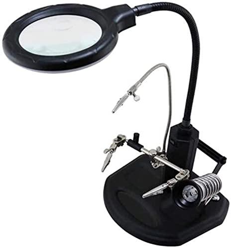 LFERRTYZ Lupa Lupa 16 Lámpara De Escritorio con Luz Led 2.5X / 4X Soporte De Manos Libres De Tercera Mano con Abrazadera Y Pinzas De Cocodrilo Soporte De Soldadura