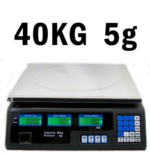 Preisrechenwaage (40 kg / 5 g) Edelstahl Waage mit LCD Display Akku Wasserwaage Tara Funktion Akkubetrieb Digital - Preiswaage Paketwaage Küchenwaage Digitalwaage