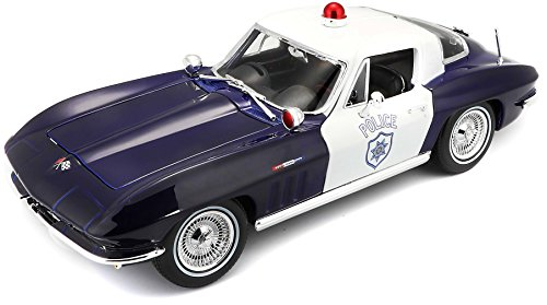 Maisto Chevrolet Corvette 65 Politie: Modelauto met vering, schaal 1:18, deuren en motorkap beweegbaar, klaar model, bestuurbaar, 24 cm, zwart (531381)