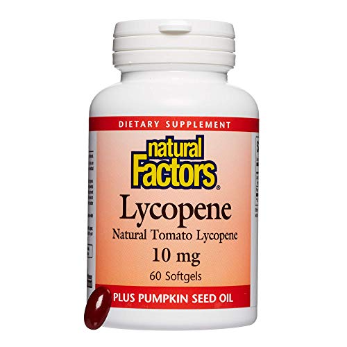 Natural Factors, Lycopene 10 mg, Antioxidant Support to Help Reduce Free Radical Damage with Pumpkin Seed, 60 softgels (60 servings)