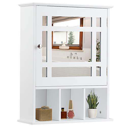 COSTWAY Hängeschrank, Spiegelschrank, Badezimmerschrank, Wandschrank, Badschrank, Badezimmer Schrank, Badhängeschrank mit verstellbarem Einlegeboden und 3 offenen Fächern, weiß