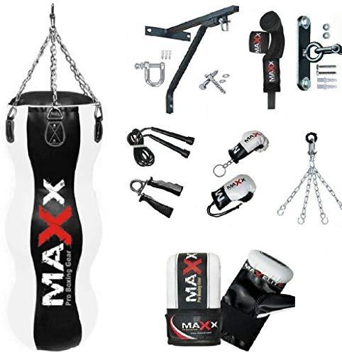 Maxx 4FT Triple body bag uppercut bag punch bag angled boxing bag free chain punching bag set BLACK 12PCS SET WITH BRACKET