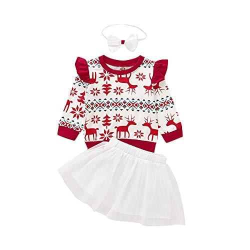 3 Stks Kerst Meisjes Kleding Set Herfst Winter Warm Pasgeboren Baby Meisjes Kids Kerstmis Herten Tops Broek/Rok Kleding Outfits