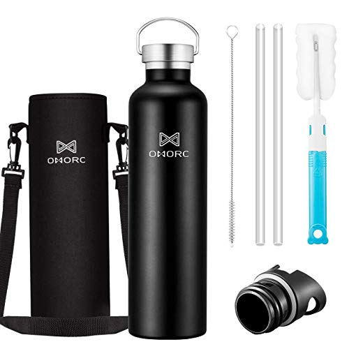 OMORC 316 Stainless Steel Sports Water Bottle-34oz, Double Wall Vacuum Insulated Water Bottle,Stay Cold for 48 Hrs,Hot for 24 Hrs, Straw and 2 Lids, Wide Mouth,Thermo Travel Modern Mug,BPA Free Black