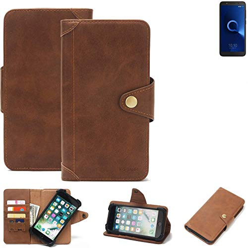 K-S-Trade® Handy-Hülle Für Alcatel 1C Dual SIM Schutz-Hülle Walletcase Bookstyle Tasche Handyhülle Schutz Case Handytasche Wallet Flipcase Cover PU Braun (1x)