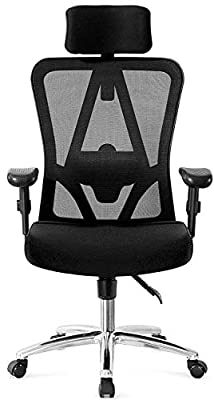 Ticova Ergonomic Office Chair with Adjustable Headrest, Armrest and Lumbar Support - High Back Mesh Office Chair with Thick Seat Cushion - Reclining Computer Desk Chair