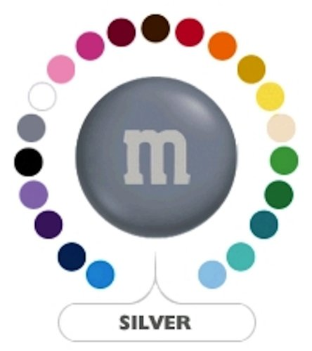 M&M's Silver Milk Chocolate Candy 1LB Bag