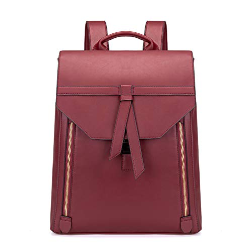 Estarer Women Leather Laptop Backpack for Work Large Rucksack Handbag for College School Girls (Red)