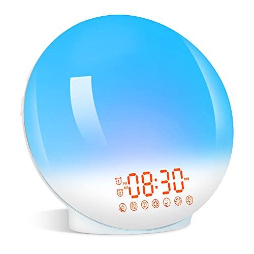Wake Up Light Modo de Simulación de Luz Radio Reloj de Amanecer y Anochecer 7 Luces de Colores 20 Niveles de Brillo 7 Sonidos Naturales Radio FM Despertadores Dobles Función de Siesta Luz Nocturna