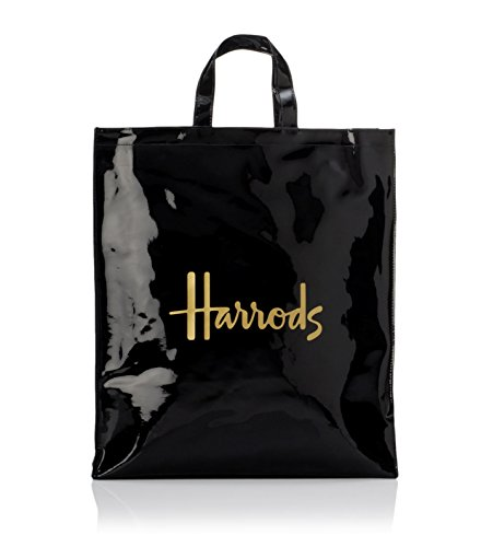 Harrods Signature Logo Large Shopper Bag - schwarze PVC Handtasche mit goldenem Logo - Magnetverschluss und Innentasche mit Reißverschluss - Handytasche