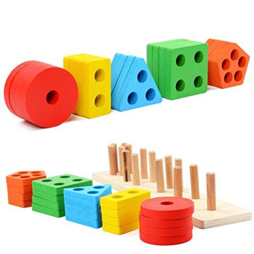 YeahiBaby Zócalo de Cilindro Montessori Cilindro de Madera Bloques Paquete Familiar Educación temprana Aprendizaje Juguete