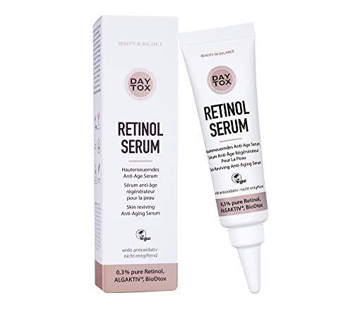 DAYTOX – Retinol Serum - Anti-Aging Serum mit 0,3% reinem Retinol für glatte Haut – Vegan, ohne Farbstoffe, Silikone und Parabene – 30ml