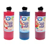 Syrup for Snow Cones, Hawaiian Shaved Ice Flavor Syrups - Icee Slushie Syrup, Soda Flavor Syrups, Coffee Flavoring - 3 Pack Pints - TIGERS BLOOD, ROCK AND ROLL, WILD THING (16 Fl. Oz each)