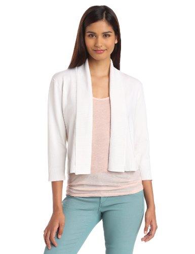 Calvin Klein Women's Shrug Sweater, White,X-Large