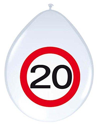 NET TOYS 20. Geburtstag Ballon Verkehrsschilder 30 cm Luftballon Partyballon Luftballons mit Zahl Luftballone Jubiläum Geburtstagsluftballon Zahlenballon