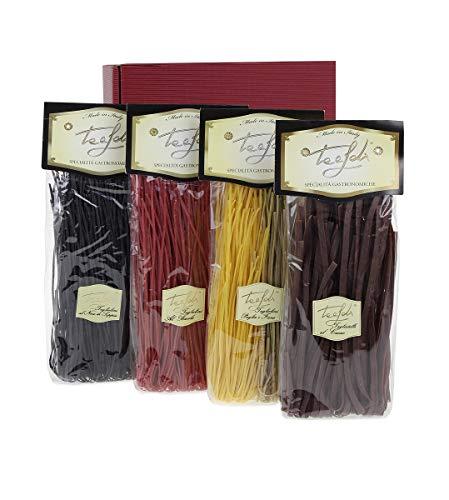 Pasta Geschenkset, 4 verschiedene farbige Nudeln, Kakaonudeln, Barolo-Wein Nudeln, Nudeln mitTintenfischtine, Spinatnudeln, Pasta aus Italien, 1 Kg
