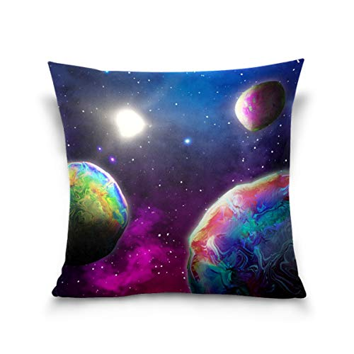 N/Q 1PCS Throw Pillow Cover Soft Pillowcase Cushion for Bed Sofa Couch Decoration 16x16,18x18,20x20Inch Abstract Planets In Space