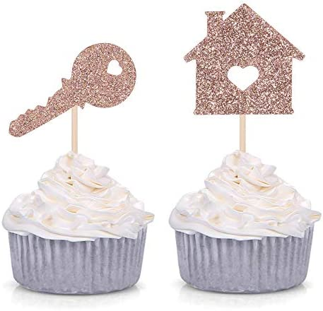 24 Home Sweet Home Cupcake Toppers House and Key Housewarming Party Decorations Rose Gold product image