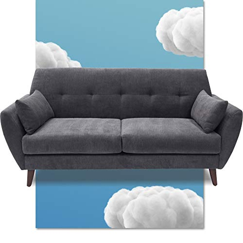 """Serta Artesia Midcentury Sofa Collection Microfiber Couch Fabric, Easy to Clean, Durable Hardwood Construction, Ships in One Convenient Box, 61"""" Loveseat, Slate Gray"""