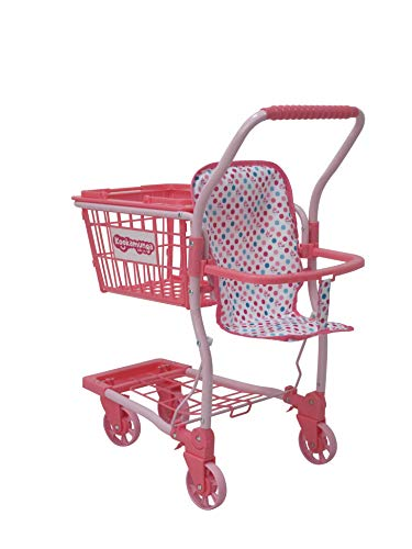 KOOKAMUNGA KIDS Toy Shopping Cart with Removable Hand Basket | Realistic 2 in 1 Kids Grocery Trolley with Front Doll Seat Carrier (Pink Unicorn Pattern)