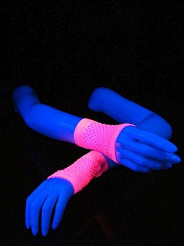 Paar Schwarzlicht Netz-Handschuhe Kurz Fingerlos Feinmaschig Pink