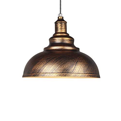 Lámpara de techo E27 de estilo retro industrial, lámpara colgante de cazoleta creativa, diseño de hierro, para restaurante, bar, color óxido, diámetro 36 cm [clase energética A++]