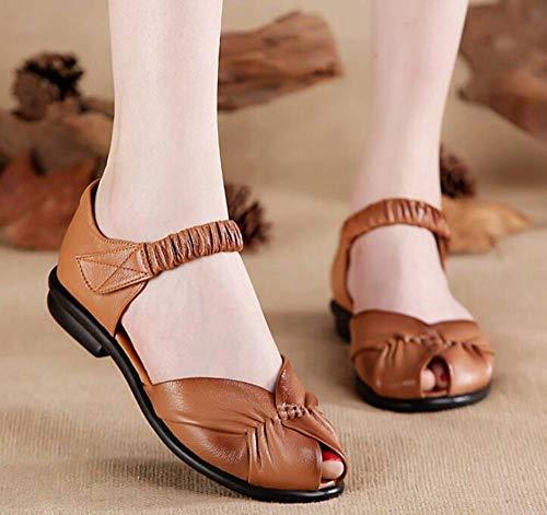 QIAO,Sandales de Style féminin, aération légère, antidérapage, Cuir, Bouton de Nylon, Chaussures de loisirs féminines (Rouge/Haricot) 35-40 m