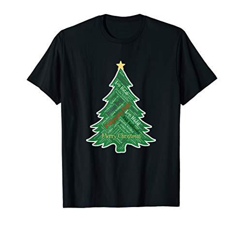 Froher Weihnachtsbaum mit Stern Verschiedene Sprachen Bau T-Shirt