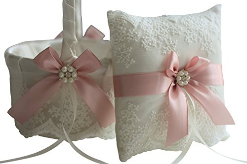 Alex Emotions | Lace Collection | Ivory Pink Ring Bearer Pillow & Wedding Flower Girl Basket Set