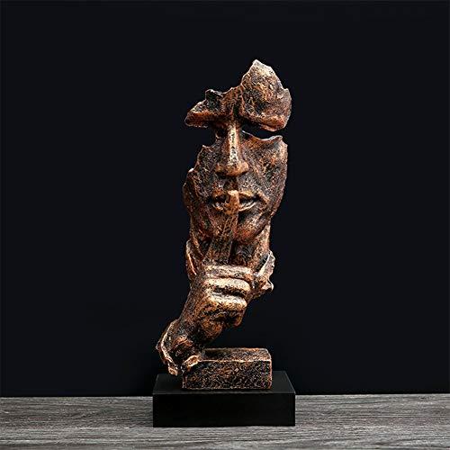 JSIHENA Schweigen ist Gold Skulptur Dekoration, Abstrakte Denker Statue Wohnzimmer Dekoration Skulptur Harz Ornamente TV Schrank Display Figuren Home Dekoration Handwerk,Natural