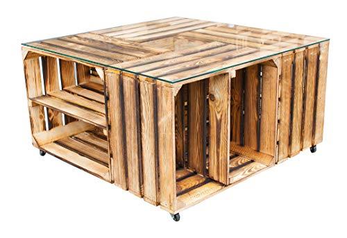 Vintage Möbel 24 GmbH 1x Schöner Tisch aus geflammtem Obstkisten, viel Stauraum & Ablageflächen, mit Rollen & pflegeleichter Glasplatte, neu, 81x81x44cm