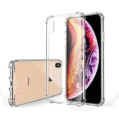 Hually Funda para iPhone X / iPhone XS Crystal Carcasa Silicona Transparente Protector Airbag Anti-Choque Ultra-Delgado Anti-arañazos Case para Teléfono Apple iPhone XS and iphone X Funda iphone 10