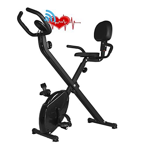 X-Bike, bicicleta estática para el hogar con respaldo, asiento plegable para el hogar con monitor digital, bicicleta de fitness con medición de pulso manual